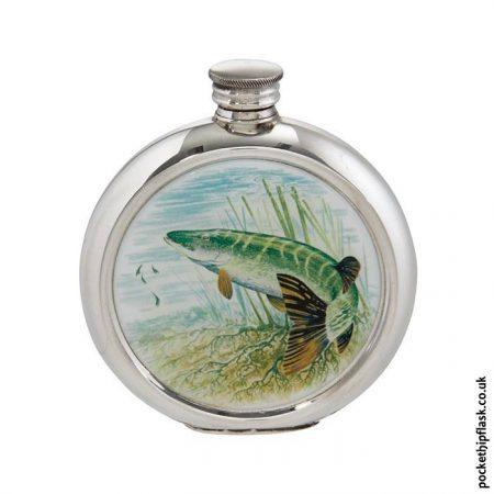 6oz-Round-Pewter-Pike-Fishing-Hip-Flask
