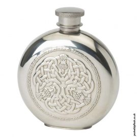 4oz-Pewter-Hip-Flask---Round-Celtic-Thistle