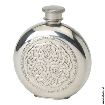 4oz-Pewter-Hip-Flask---Round-Celtic-Thistle