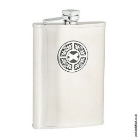8oz-Brushed-Stainless-Steel-Hip-Flask-with-Round-Thistle-and-Saltire-Badge