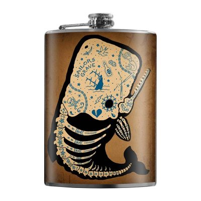 Tattooed-Whale-8oz-Stainless-Steel-Hip-Flasks