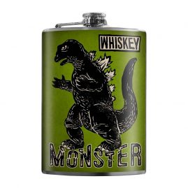 Whiskey-Monster-8oz-Stainless-Steel-Hip-Flask