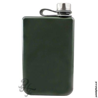 Matt-Army-Green-8oz-Stainless-Steel-Hip-Flask-front