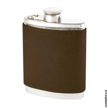 6oz-Pewter-Hip-Flask-with-Brown-Leather-Wrap