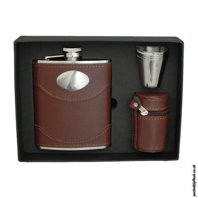 Brown-Leather-Hip-Flask-set-with-four-cups-and-Brown-Letaher-Cup-Case