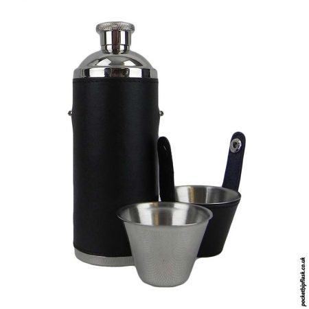 Stainless-Steel-Hunters-Flask-encased-in-Black-Leather-with-cups-1