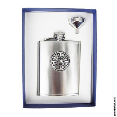 6oz-Thistle-and-Saltire-Brushed-Steel-Hip-Flask-and-Funnel